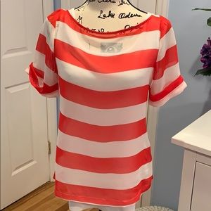 Liberty Love Red and White Stripe Boat Neck Top
